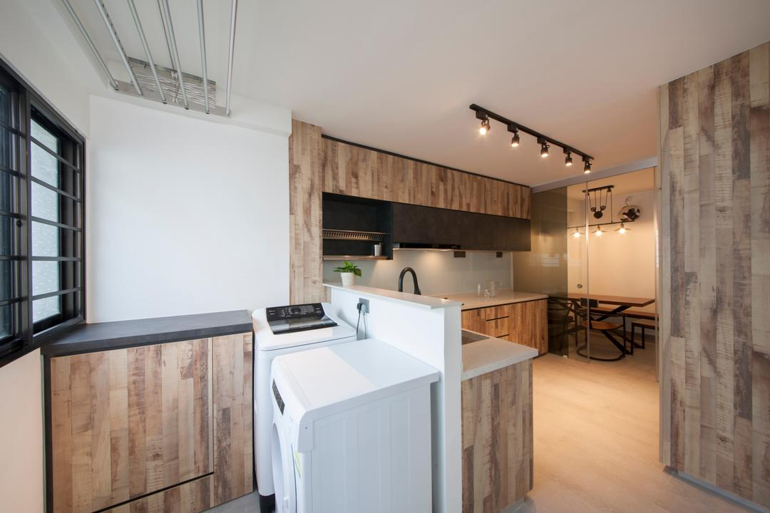 Ang Mo Kio Avenue 3(Block 562), DB Studio, Contemporary, Kitchen, HDB, Service Yard, Laundry Area, Washing Machine, Dryer, Laundry Rack, Hydraulic Rack, Automated Rack, Clothes Rack, Indoors, Interior Design, Room, Appliance, Electrical Device, Washer, Sink, Dining Table, Furniture, Table