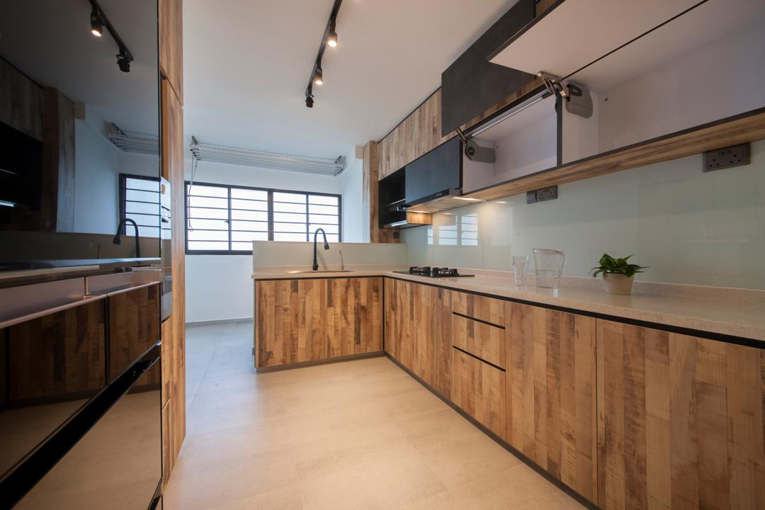 Ang Mo Kio Avenue 3(Block 562), DB Studio, Contemporary, Kitchen, HDB, L Shaped Kitchen, Wood Laminate, Tiles, Easy To Maintain, Easy To Clean, Countertop, Solid Countertop, Track Lights, Cabinet Hinge, Knobless, L Shaped Layout, Flooring