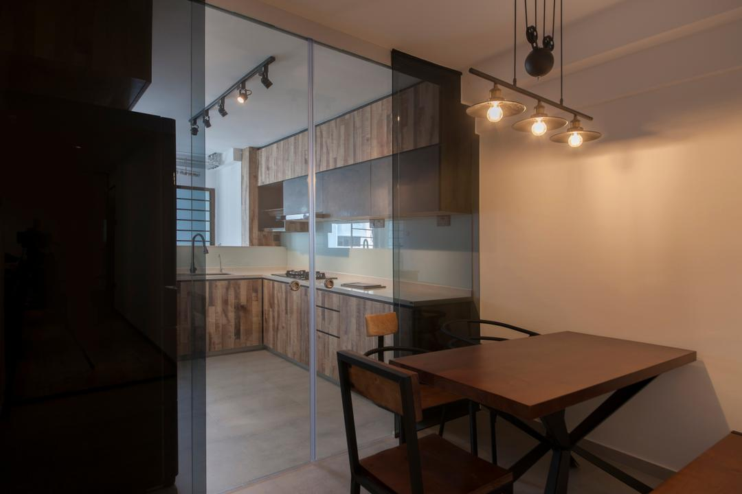 Ang Mo Kio Avenue 3(Block 562), DB Studio, Contemporary, Dining Room, HDB, Sliding Door, Glass Partition, Glass Door, Sliding Glass Door, Wooden Table, Corner, Chair, Furniture, Indoors, Interior Design, Room, Dining Table, Table
