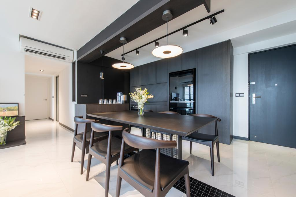Modern, HDB, Dining Room, SkyTerrace @ Dawson (Block 90), Interior Designer, Habit, Hallway, Entrance, Corridor, Walkway, Dining Chairs, Black, Dark Brown, Pendant Lights, Hanging Lights, Track Lights, Black Beam, Beam, Indoors, Interior Design, Room, Chair, Furniture, Dining Table, Table