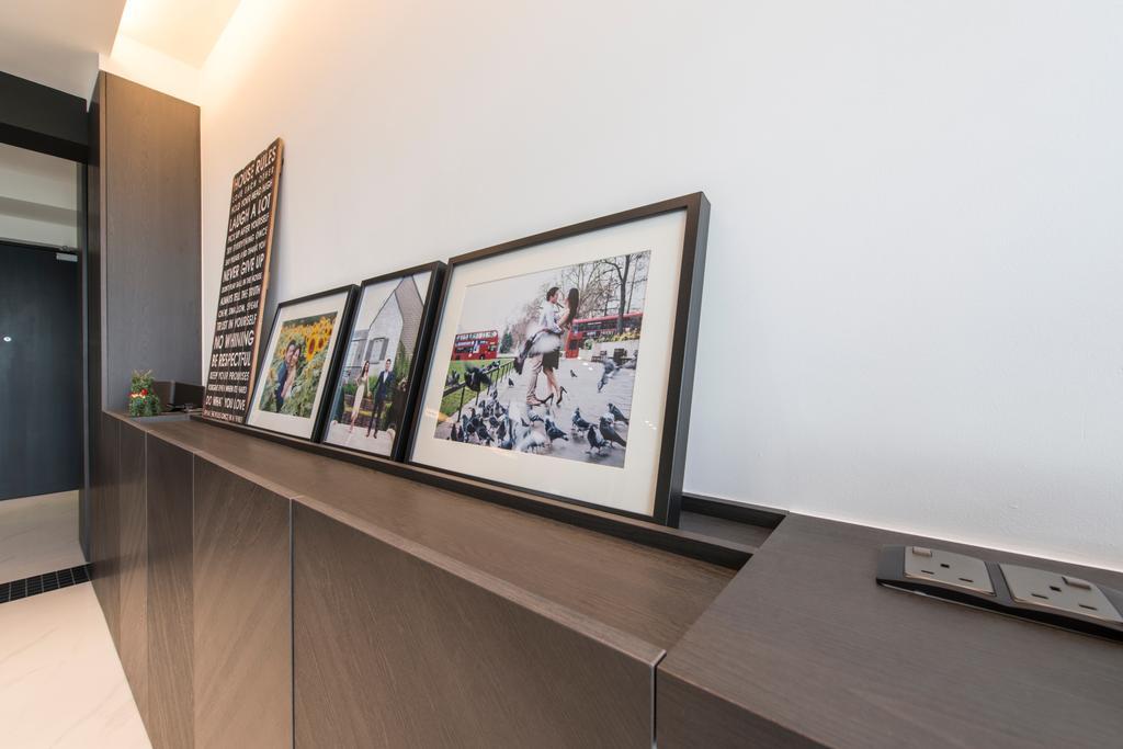 Modern, HDB, Living Room, SkyTerrace @ Dawson (Block 90), Interior Designer, Habit, Details, Switches, Power Socket, Powerpoint, Socket, Photo Frames, Wall Decor, Ledge, Projection Screen, Screen