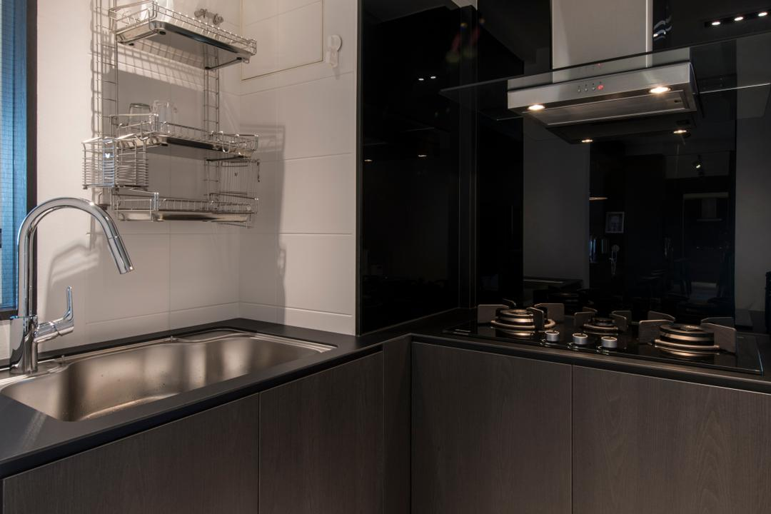 SkyTerrace @ Dawson (Block 90), Habit, Modern, Kitchen, HDB, Small Kitchen, Compact Sized, Dark Wood, Glass Backsplash, Dark Glass, Stove, Hob, Hood, Sink, Dish Drying Rack, Dish Rack, Appliance, Electrical Device, Oven