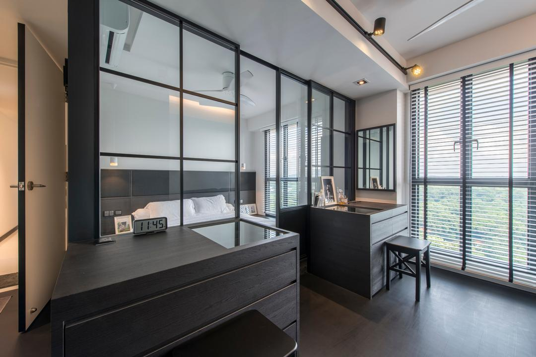 SkyTerrace @ Dawson (Block 90), Habit, Modern, Bedroom, HDB, Black Framed Partition, Glass Partitions, Dressing Area, Bed On Platform, Accessory Island, Stool, Bright, Airy, Pinterest Worthy, Indoors, Interior Design
