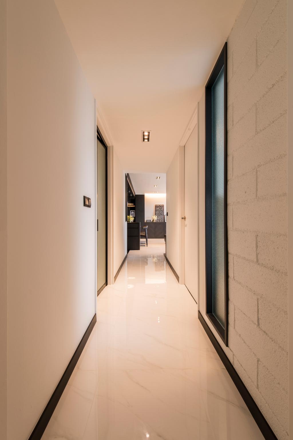 Modern, HDB, SkyTerrace @ Dawson (Block 90), Interior Designer, Habit, Hallway, Corridor, Walkway, White, Brick Wall, White Brick