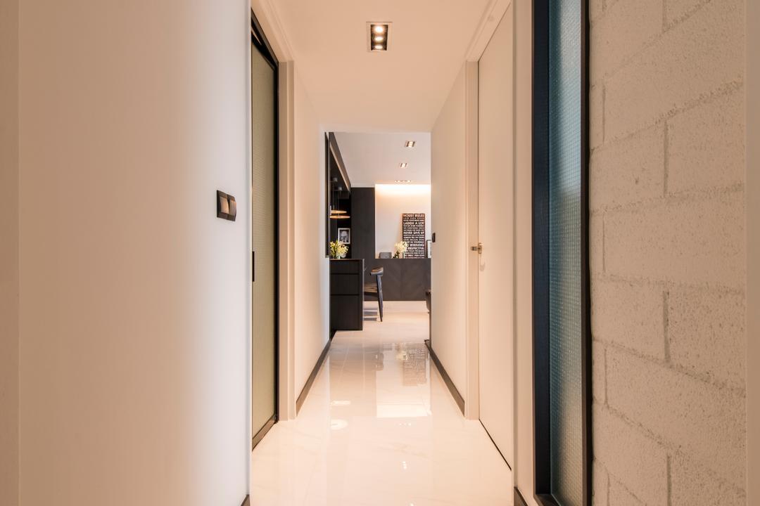 SkyTerrace @ Dawson (Block 90), Habit, Modern, HDB, Hallway, Corridor, Walkway, White, Brick Wall, White Brick