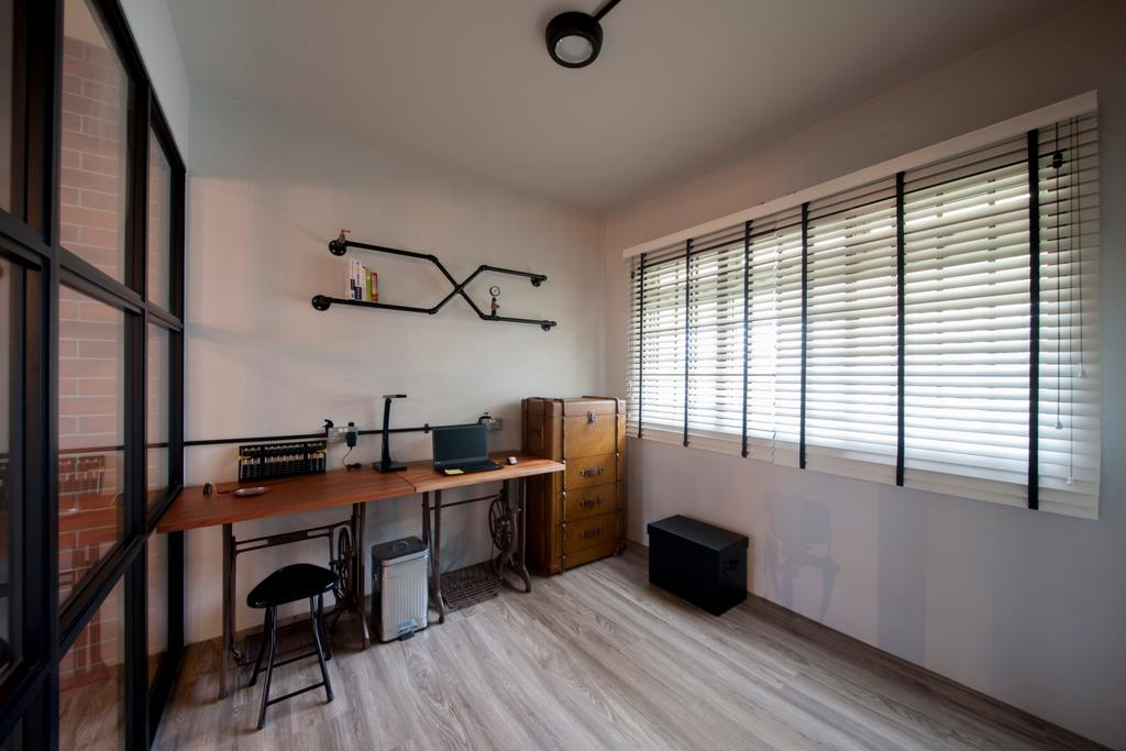 Eclectic, HDB, Study, Pasir Ris (Block 561), Interior Designer, Aart Boxx Interior, Industrial, Study Table, Work Desk, Laptop, Chairs, Stools, Drawers, Cabinetry, Wall Shelf, Blinds, Venetian Blinds, Flooring, Dining Room, Indoors, Interior Design, Room, Dining Table, Furniture, Table