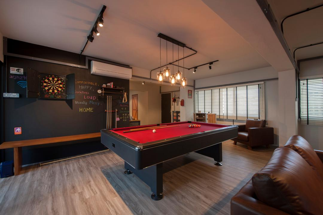 Pasir Ris (Block 561), Aart Boxx Interior, Eclectic, Industrial, Living Room, HDB, Dart Board, Pool Table, Fun, Playful, Game, Pendant Lamp, Hanging Lamp, Aircon, Billiard Room, Furniture, Indoors, Room, Table, Couch