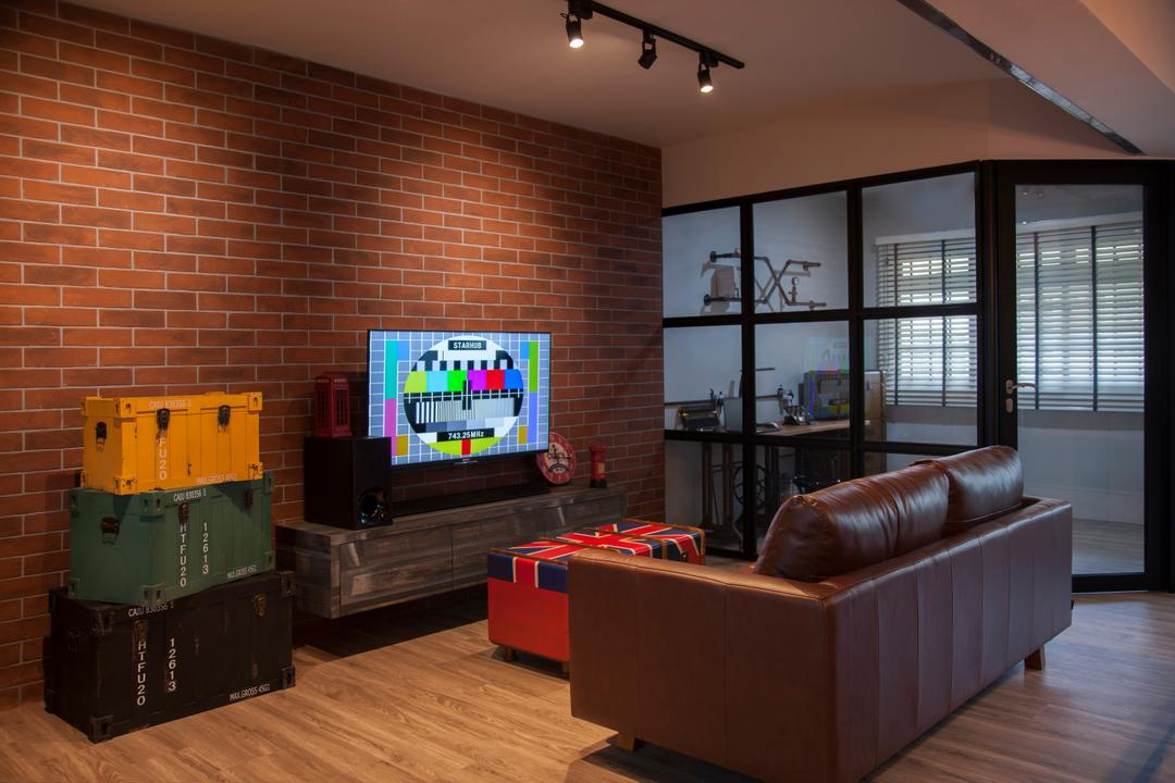 Pasir Ris (Block 561), Aart Boxx Interior, Eclectic, Industrial, Living Room, HDB, Hacked Wall, Dark Framed Door, , Brown Leather Sofa, Ottoman, Brick Walls, Red Brick Walls, Tv Console, Tv Cabinet, Storage, Suitcase, Home Decor, Couch, Furniture, Brick