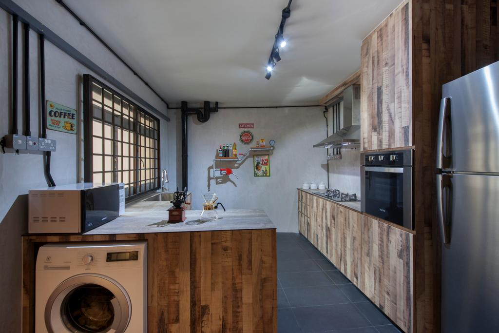 Eclectic, HDB, Pasir Ris (Block 561), Interior Designer, Aart Boxx Interior, Industrial, Washing Machine, Laundry, Wood Laminated, Kitchen Laminates, Refrigerator, Built In Oven, Appliance, Electrical Device, Oven, Washer