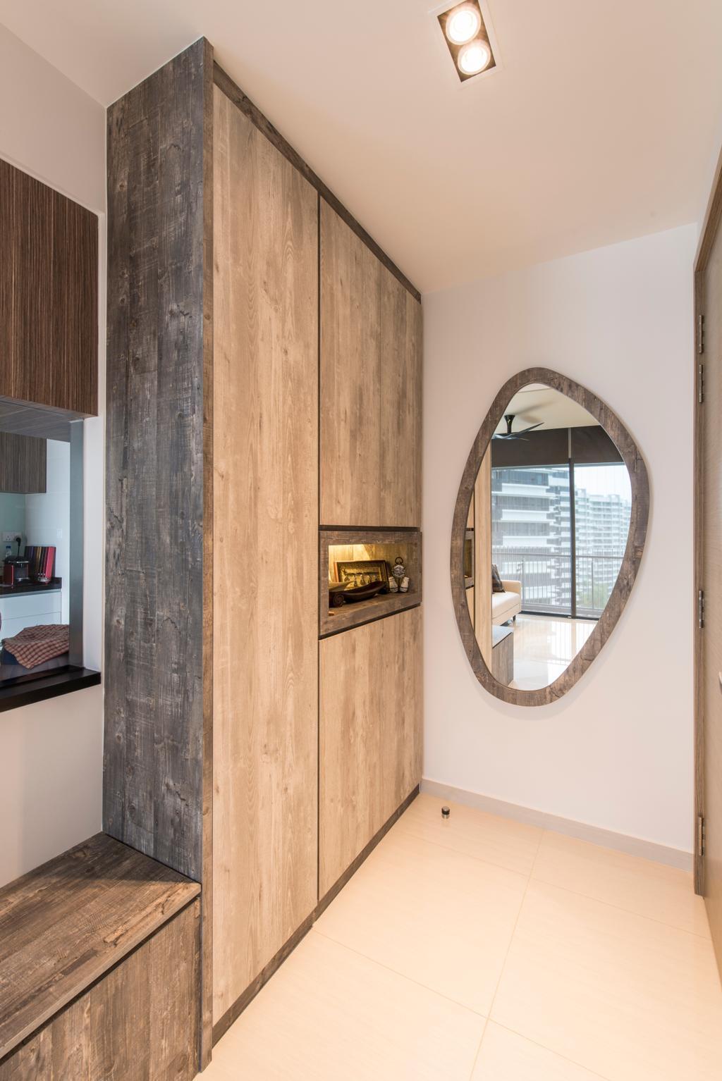 Minimalistic, Condo, Living Room, The Palette (Block 107), Interior Designer, Aart Boxx Interior, Modern, Shoe Cabinet, Entrance, Entryway, Mirror, Wall Mirror, Porthole, Window