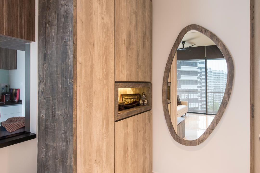 The Palette (Block 107), Aart Boxx Interior, Minimalistic, Modern, Living Room, Condo, Shoe Cabinet, Entrance, Entryway, Mirror, Wall Mirror, Porthole, Window