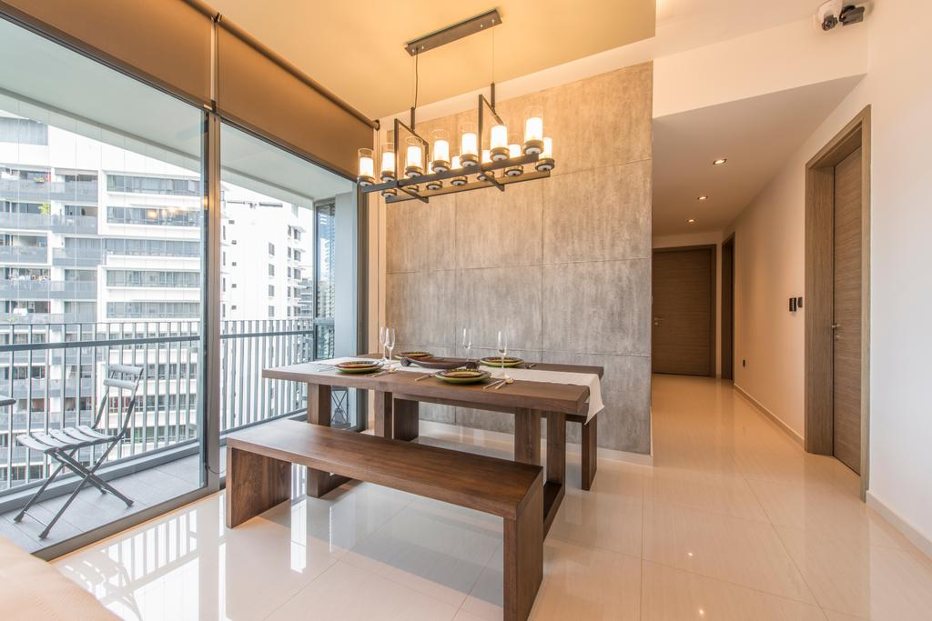 Minimalistic, Condo, Dining Room, The Palette (Block 107), Interior Designer, Aart Boxx Interior, Modern, Dining Table, Bench, Hanging Lamp, Raw, Grey Walls, Table Runner, Wooden Bench, Walkway, Hallway, Furniture, Table, Indoors, Interior Design, Room, HDB, Building, Housing, Loft