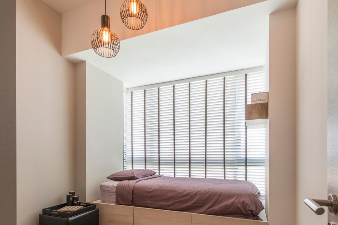 The Palette (Block 107), Aart Boxx Interior, Minimalistic, Modern, Bedroom, Condo, Platform Bed, Platform Bed With Storage, Blinds, Venetian Blinds, Wooden Floor, Wood Floor, Pendant Lamp, Hanging Lamp, Indoors, Interior Design, Room