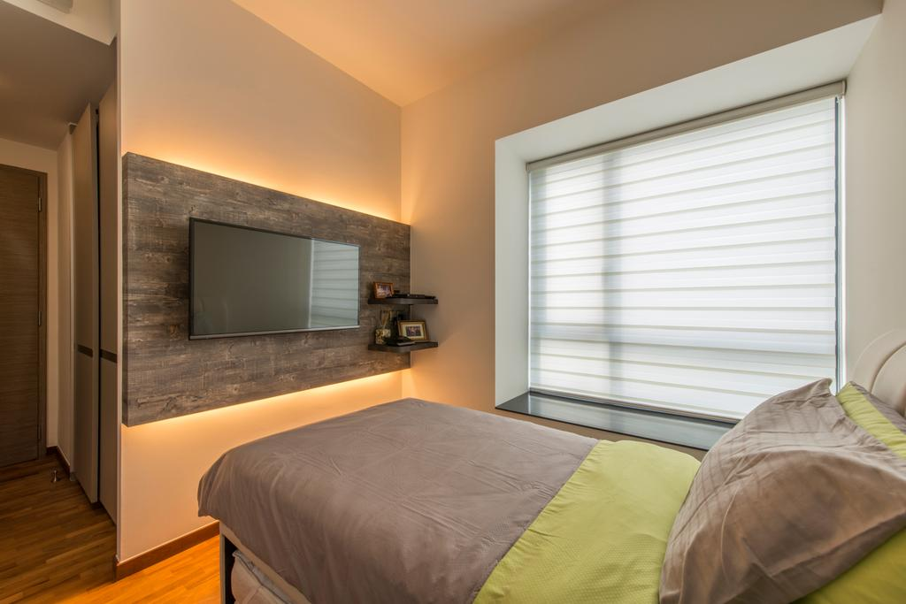 Minimalistic, Condo, Bedroom, The Palette (Block 107), Interior Designer, Aart Boxx Interior, Modern, Concealed Lighting, Tv Wall Mount, Bay Window, Blinds, Roller Blinds, Feature Wall, Bed, Furniture, Indoors, Room, Flooring, Interior Design