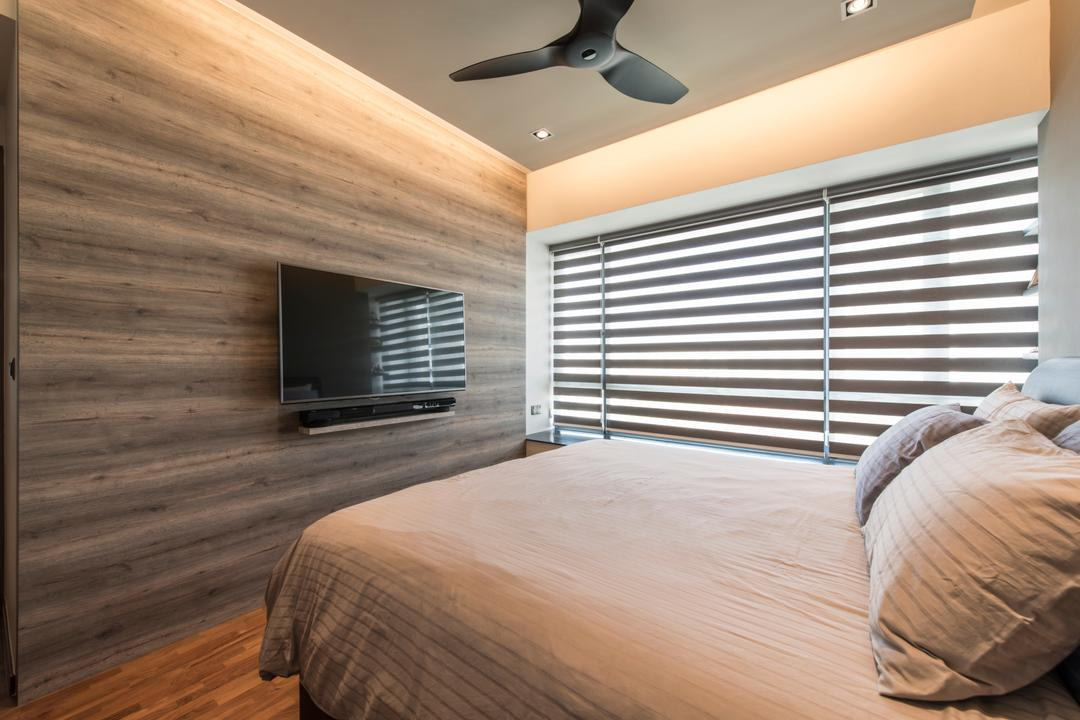 The Palette (Block 107), Aart Boxx Interior, Minimalistic, Modern, Condo, Blinds, Venetian Blinds, Feature Wall, Tv Mount, Ceiling Fan, Cove Lighting, Concealed Lighting, Bedroom, Indoors, Interior Design, Room, Bed, Furniture