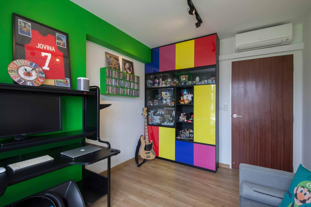 Edgefield Plains (Block 668B ), Aart Boxx Interior, Scandinavian, Modern, Study, HDB, Colours, Colourful, Pop Of Colours, Funky Colours, Green Walls, Study Table, Work Station, Work Desk, Painting, Wall Clock, Guitar, Musical Instrument, Wall Shelf, Electronics, Monitor, Screen, Tv, Television, Couch, Furniture, Chair