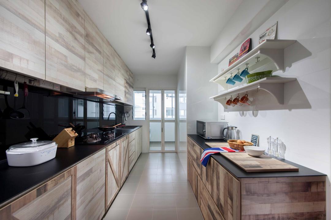 Edgefield Plains (Block 668B ), Aart Boxx Interior, Scandinavian, Modern, Kitchen, HDB, Kitchen Workspace, Kitchen Island, Kitchen Rack, Utensils Rack, Wall Shelf, Shelves, Backsplash, Black Countertop