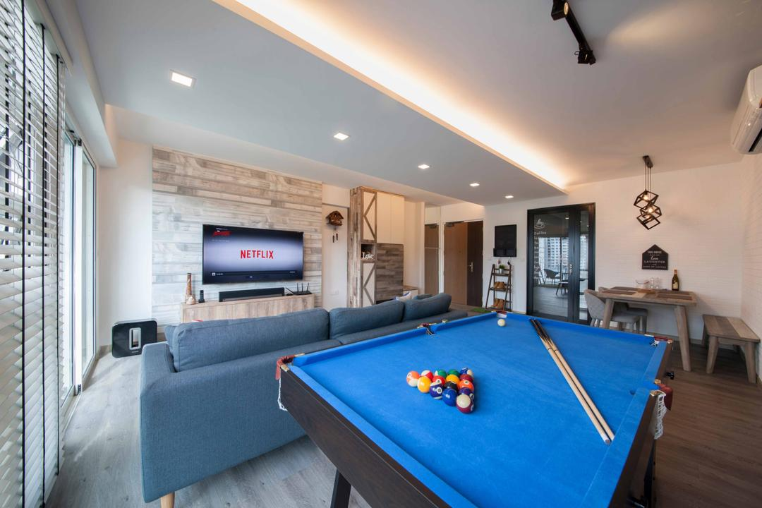 Edgefield Plains (Block 668B ), Aart Boxx Interior, Scandinavian, Modern, Living Room, HDB, Pool Table, Play, Game, Gaming, Cove Lighting, Sofa, Blue Sofa, Feature Wall, Billiard Room, Furniture, Indoors, Room, Table, Couch, Electronics, Entertainment Center, Home Theater