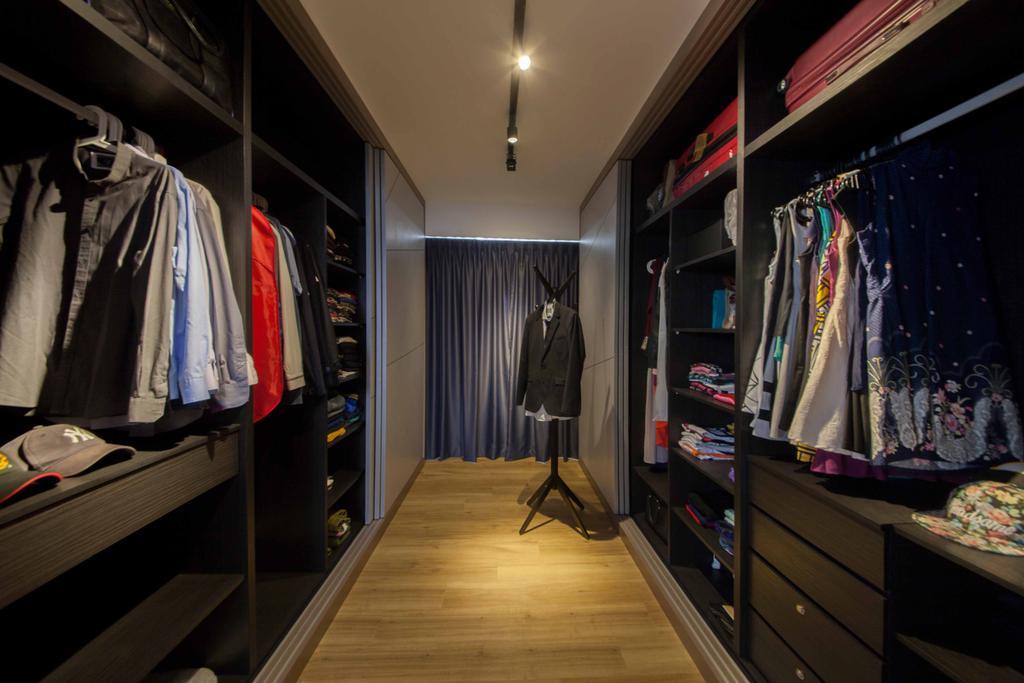 Scandinavian, HDB, Bedroom, Edgefield Plains (Block 668B ), Interior Designer, Aart Boxx Interior, Modern, Walk In Wardrobe, Wardrobe, Clothes, Storage Space, Sliding Door, Track Lights, Track Lighting