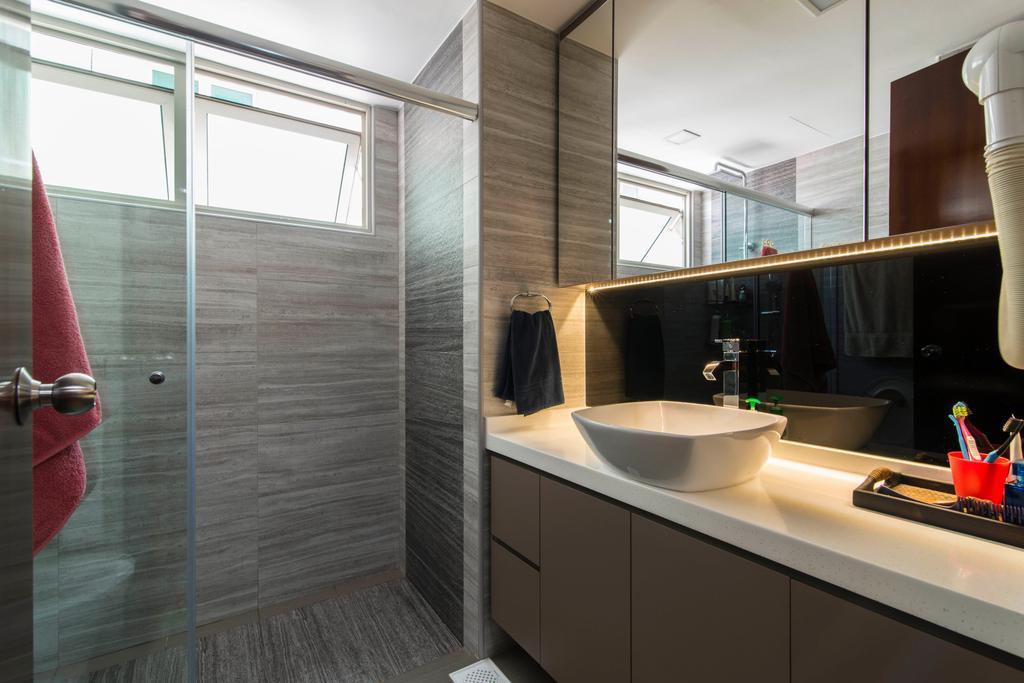 Contemporary, HDB, Bathroom, 9B Sin Ming Road, Interior Designer, De Exclusive Design Group, Bathroom Sink, Sink, Mirror, Bathroom Vanity, Shower Screen, Shower Area, Indoors, Interior Design, Room, Appliance, Electrical Device, Oven