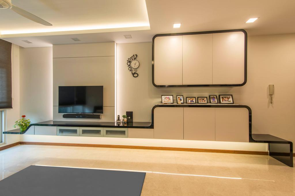 Contemporary, HDB, Living Room, 9B Sin Ming Road, Interior Designer, De Exclusive Design Group, Feature Wall, Cabinetry, Cabinets, Shelves, Shelving, Tv, Tv Console, Tv Cabinet, Cove Lighting, Concealed Lighting, False Ceiling, Warm Lights, Flooring, Indoors, Interior Design, Room