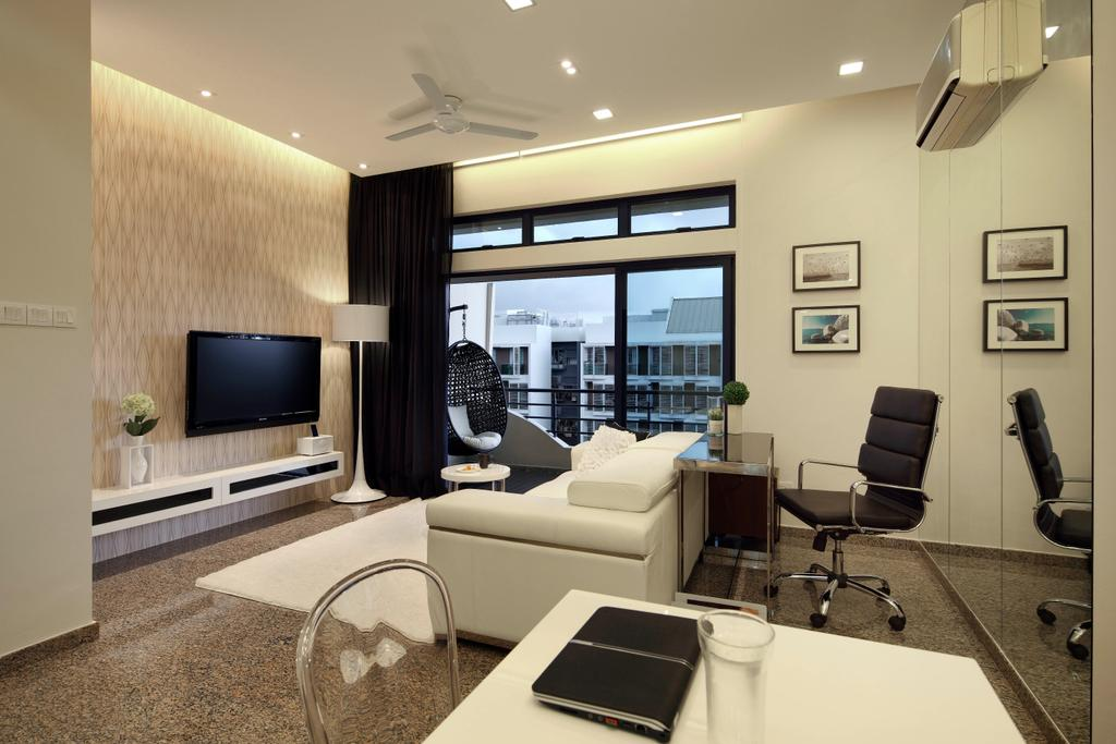 Modern, Condo, Living Room, 19 Shelford Road, Interior Designer, De Exclusive Design Group, Office Chair, Work Station, Work Desk, Sofa, White Sofa, Wallpaper, Recessed Lighting, Mirror, Aircon, Ceiling Fan, Tv, Tv Cabinet, Tv Console, Indoors, Interior Design, Chair, Furniture, Room