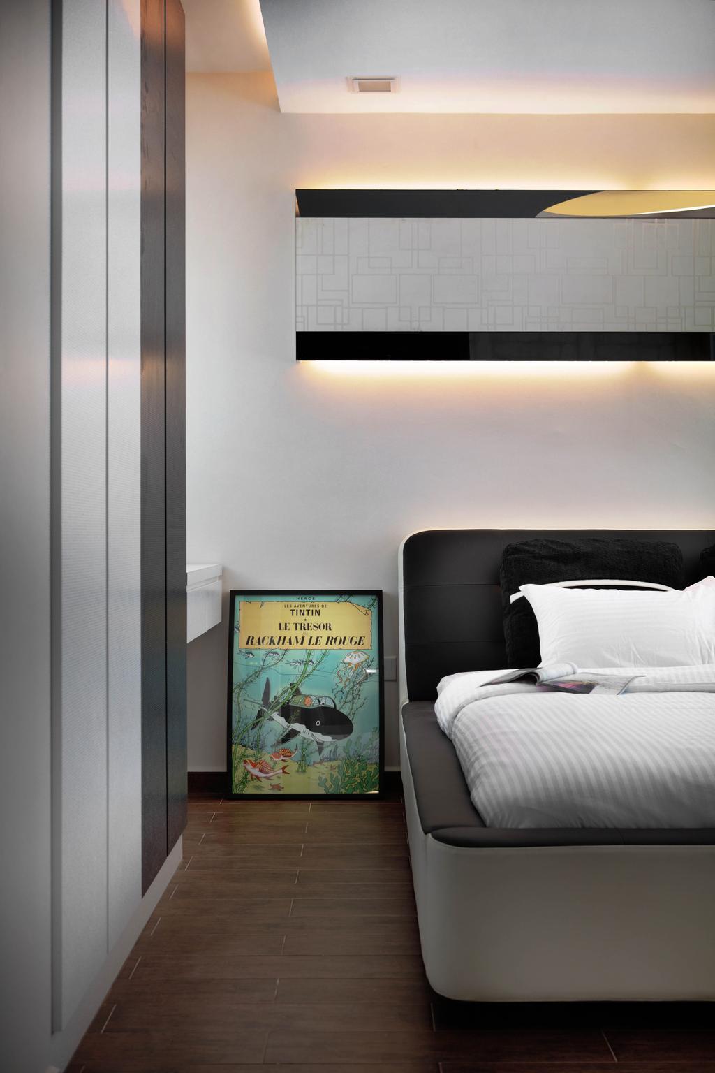 Eclectic, HDB, Bedroom, Ang Mo Kio Avenue 1 (Block 307A), Interior Designer, De Exclusive Design Group, Poster, Electronics, Monitor, Screen, Chair, Furniture