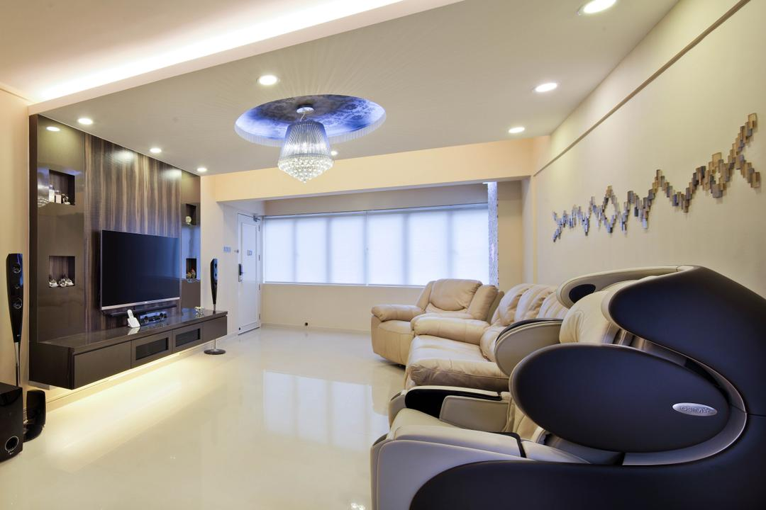 Ang Mo Kio Avenue 9 (Block 622), De Exclusive Design Group, Traditional, Living Room, HDB, Massage Chair, Sofa, Chandelier, Crystal Lights, Feature Wall, Tv, Tv Console, Tv Cabinet, Chair, Furniture, Indoors, Interior Design, Light Fixture, Electronics, Entertainment Center, Home Theater