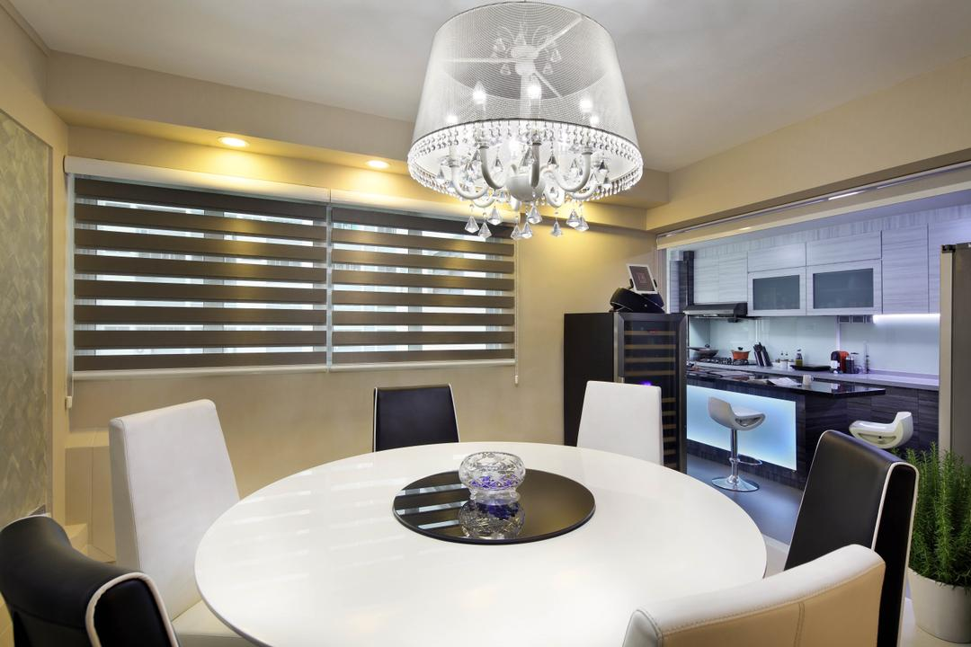 Ang Mo Kio Avenue 9 (Block 622), De Exclusive Design Group, Traditional, Dining Room, HDB, Dining Table, Dining Chairs, Round Table Top, Chandelier, Crystal Lights, Blinds, Korean Blind, Lamp, Indoors, Interior Design, Room, Couch, Furniture, Table, Chair