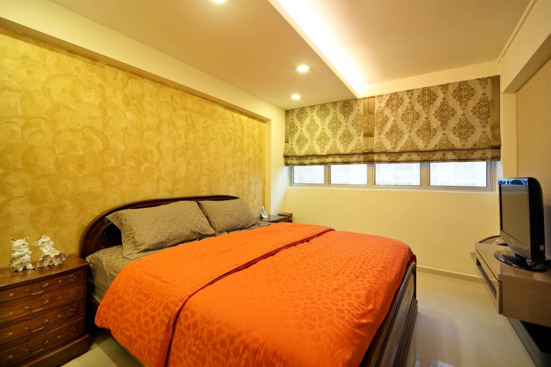 Ang Mo Kio Avenue 9 (Block 622), De Exclusive Design Group, Traditional, Bedroom, HDB, Orange, Bright Colours, Wallpaper, Cove Lighting, Blinds, Patterns, Appliance, Electrical Device, Oven, Indoors, Room, Bed, Furniture, Lighting, Interior Design
