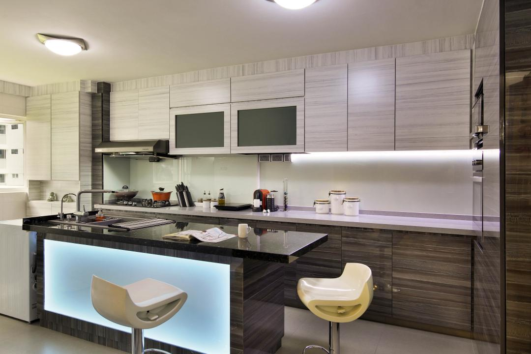 Ang Mo Kio Avenue 9 (Block 622), De Exclusive Design Group, Traditional, Kitchen, HDB, Kitchen Countertop, Kitchen Cabinets, Cabinetry, Bar Stools, Stools, Lights, Kitchen Island, Toilet, Indoors, Interior Design, Room