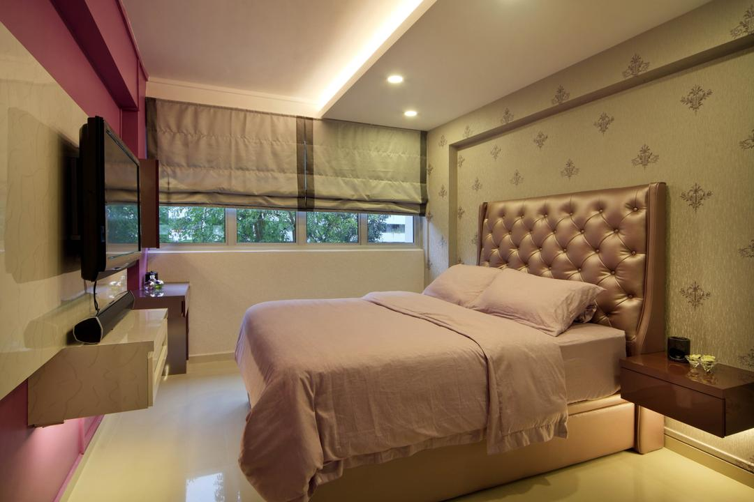 Ang Mo Kio Avenue 9 (Block 622), De Exclusive Design Group, Traditional, Bedroom, HDB, Headboard, Wallpaper, Cove Lighting, Concealed Lighting, Blinds, Pink, Girly, Girlish, Tv, Bed, Furniture, Indoors, Room