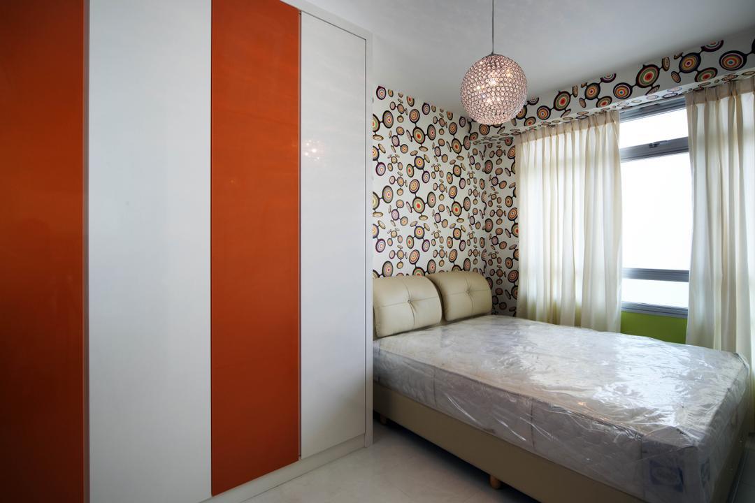 Bendemeer Road (Block 38D), De Exclusive Design Group, Eclectic, Bedroom, HDB, Bed, Headboard, Wallpaper, Pendant Lamp, Wardrobe, Stripes, Furniture, Couch, Indoors, Interior Design, Room, Lamp, Lampshade