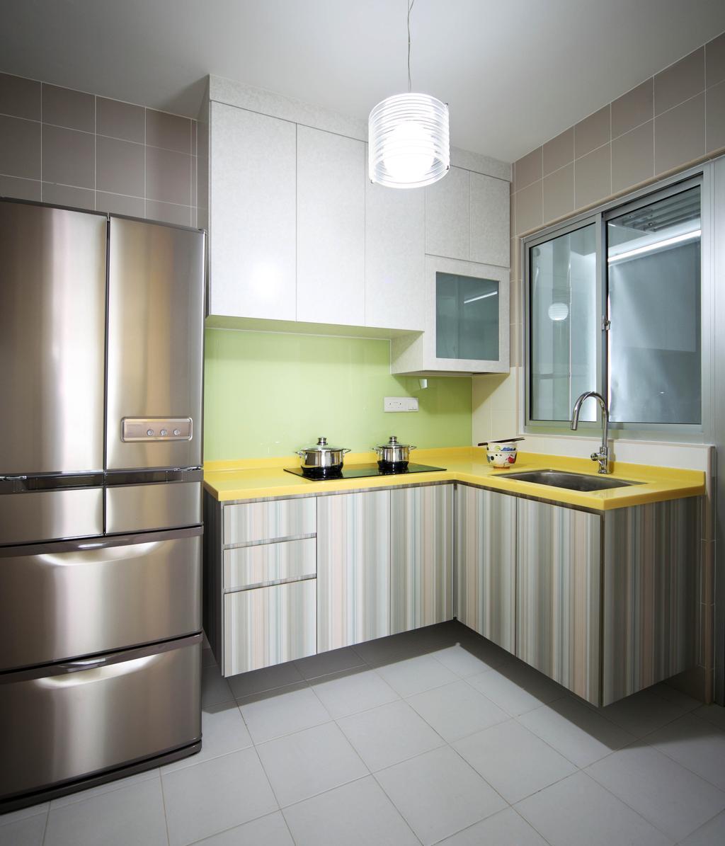 Eclectic, HDB, Kitchen, Bendemeer Road (Block 38D), Interior Designer, De Exclusive Design Group, Kitchen Cabinets, Cabinetry, Refrigerator, Shelves, Shelving, Yellow, Kitchen Countertop, Indoors, Interior Design, Room, Bathroom, Sink