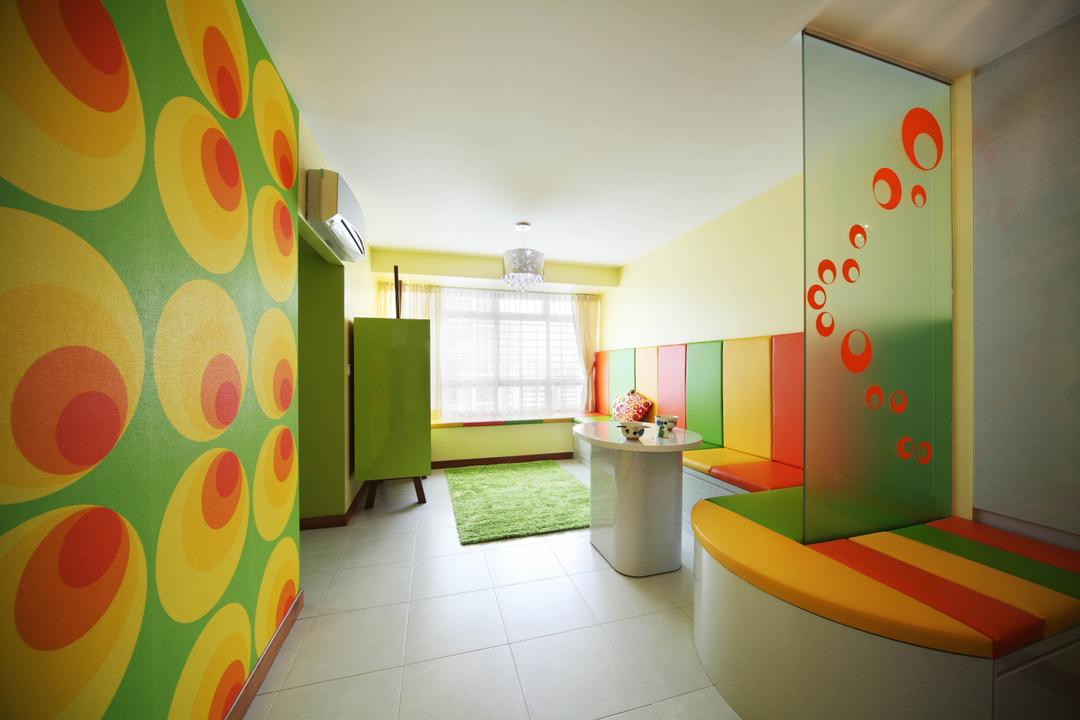 Bendemeer Road (Block 38D), De Exclusive Design Group, Eclectic, Living Room, HDB, Colours, Colourful, Funky Colours, Wallpaper, Green, Red, Yellow, Bright Colours, Coffee Table, Seats, Bench, Indoors, Interior Design