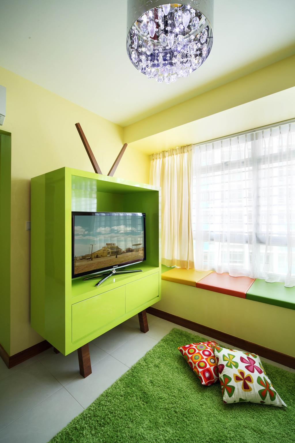 Eclectic, HDB, Living Room, Bendemeer Road (Block 38D), Interior Designer, De Exclusive Design Group, Colours, Colourful, Green, Striking Colours, Carpet, Electronics, Entertainment Center