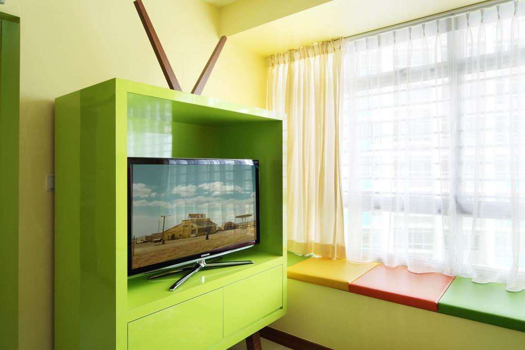 Bendemeer Road (Block 38D), De Exclusive Design Group, Eclectic, Living Room, HDB, Colours, Colourful, Green, Striking Colours, Carpet, Electronics, Entertainment Center