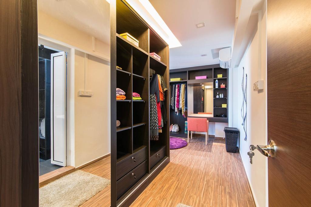 Contemporary, HDB, Bedroom, Bukit Batok (Block 299), Interior Designer, De Exclusive Design Group, Wardrobe, Mirror, Dressing Room, Dressing Table, Warm Lights