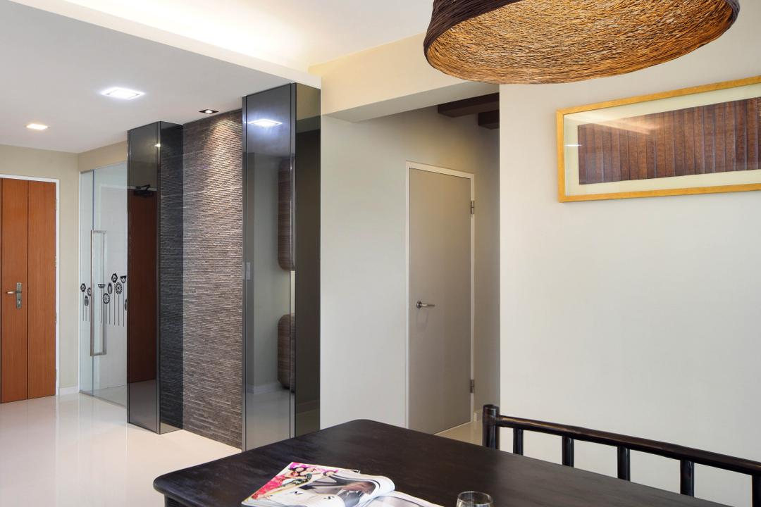 Clementi Avenue 1 (Block 425), De Exclusive Design Group, Contemporary, Dining Room, HDB, Dining Table, Pendant Lamp, Painting, Wall Decor, Panels, Wallpaper, Door, Elevator, Indoors, Interior Design, Room, Lighting