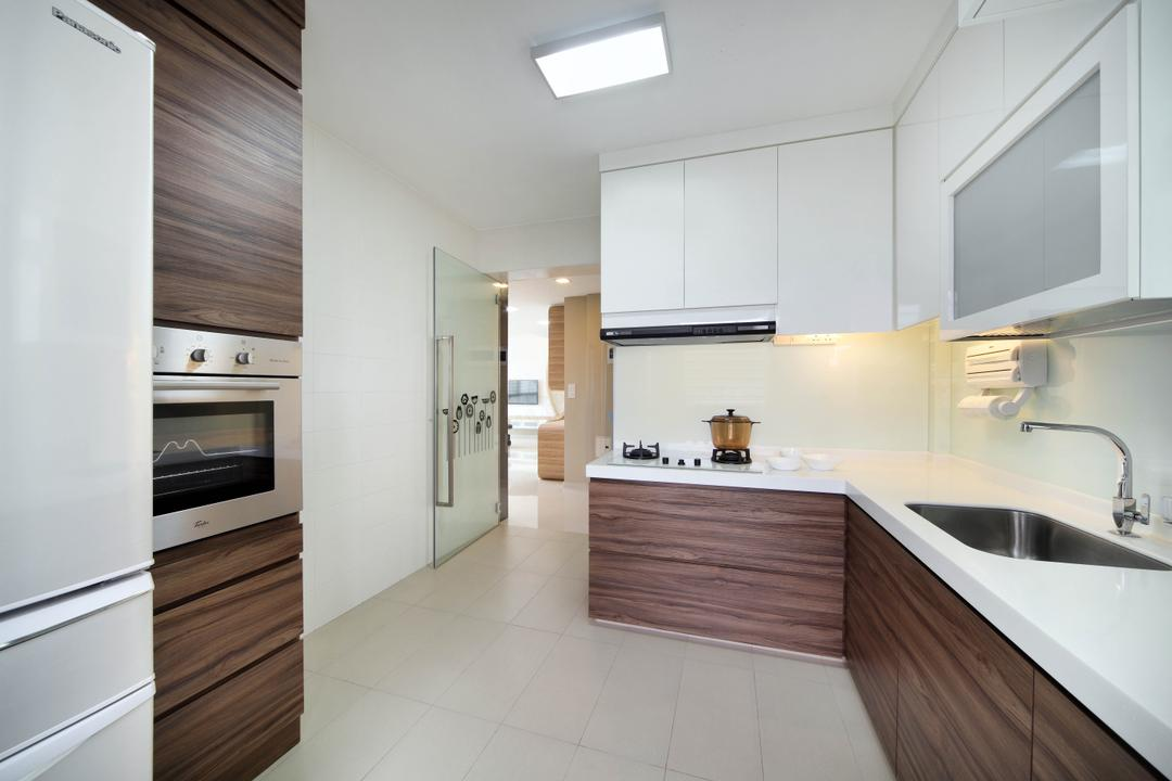 Clementi Avenue 1 (Block 425), De Exclusive Design Group, Contemporary, Kitchen, HDB, Kitchen Countertop, Kitchen Laminates, Wood Laminates, Wood Grain, Built In Oven, White Cabinet, Stove, Exhaust Hood, Appliance, Electrical Device, Oven, Indoors, Interior Design, Bathroom, Room