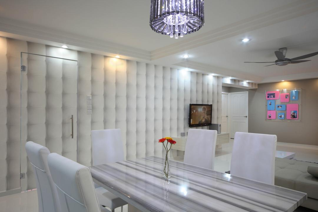 Ellias Road (Block 606), De Exclusive Design Group, Traditional, Dining Room, HDB, Wallpaper, Door, Hidden Door, Camouflage, Dining Table, Dining Chairs, Chandelier, Crystal Lights, Chair, Furniture