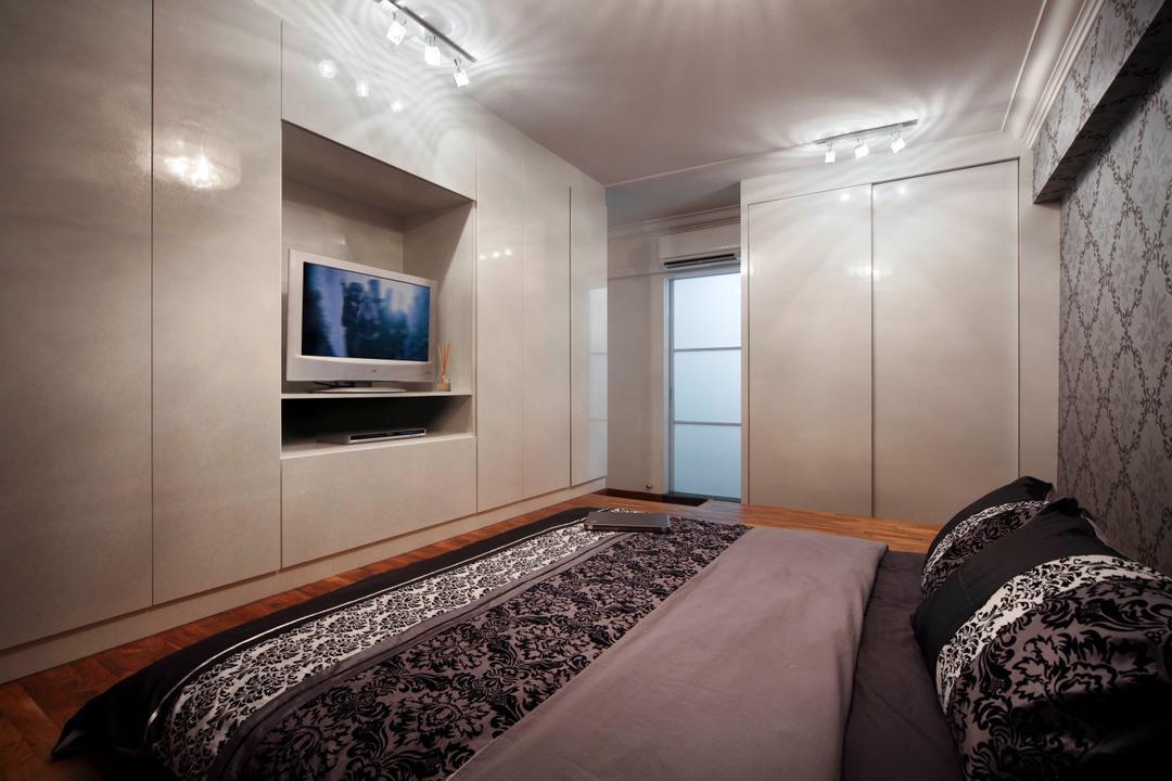 Ellias Road (Block 606), De Exclusive Design Group, Traditional, Bedroom, HDB, Tv, Tv Console, Dim Lights, Indoors, Interior Design, Room