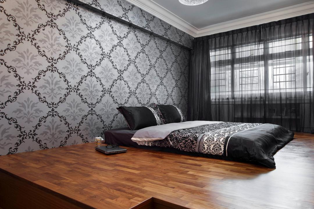 Ellias Road (Block 606), De Exclusive Design Group, Traditional, Bedroom, HDB, Platform, Platfrom Bed, Wallpaper, Patterned Wallpaper, Curtains, Black, Black Furniture