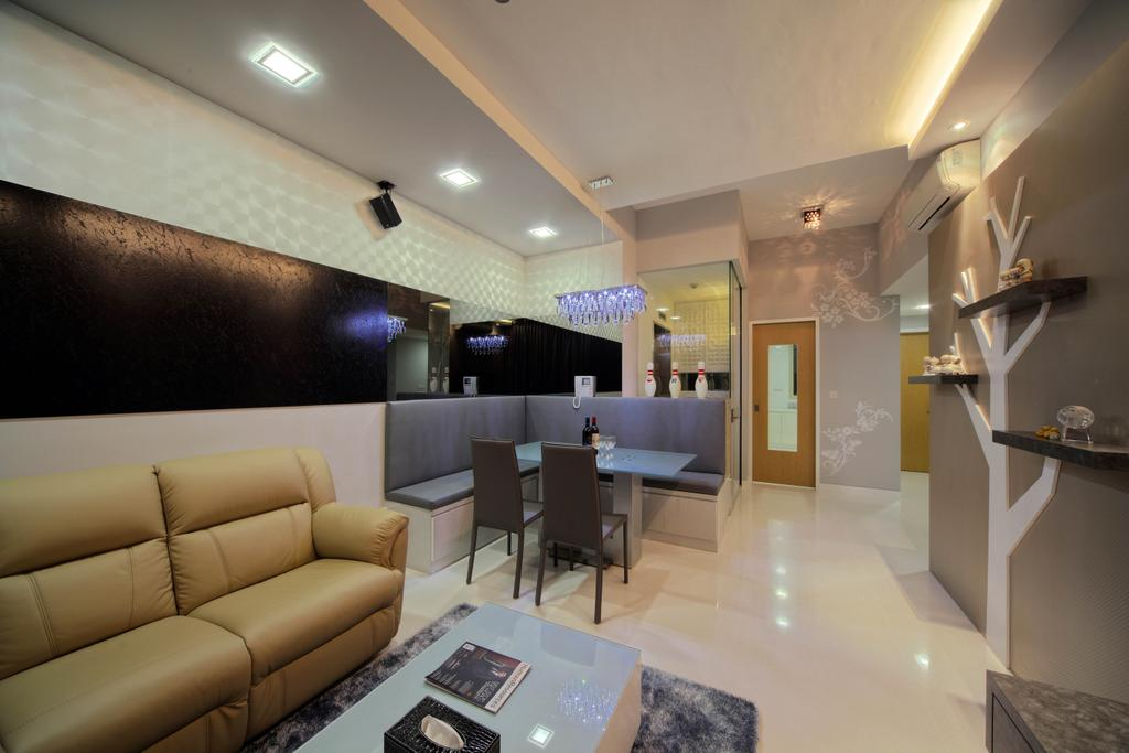 Traditional, Condo, Living Room, Fontaine Parry, Interior Designer, De Exclusive Design Group, Sofa, Leather Sofa, Mustard Sofa, Brown Sofa, Coffee Table, Mirror Panels, Dining Chairs, Wall Shelf, Floating Shelves, Couch, Furniture, Dining Table, Table, Indoors, Interior Design