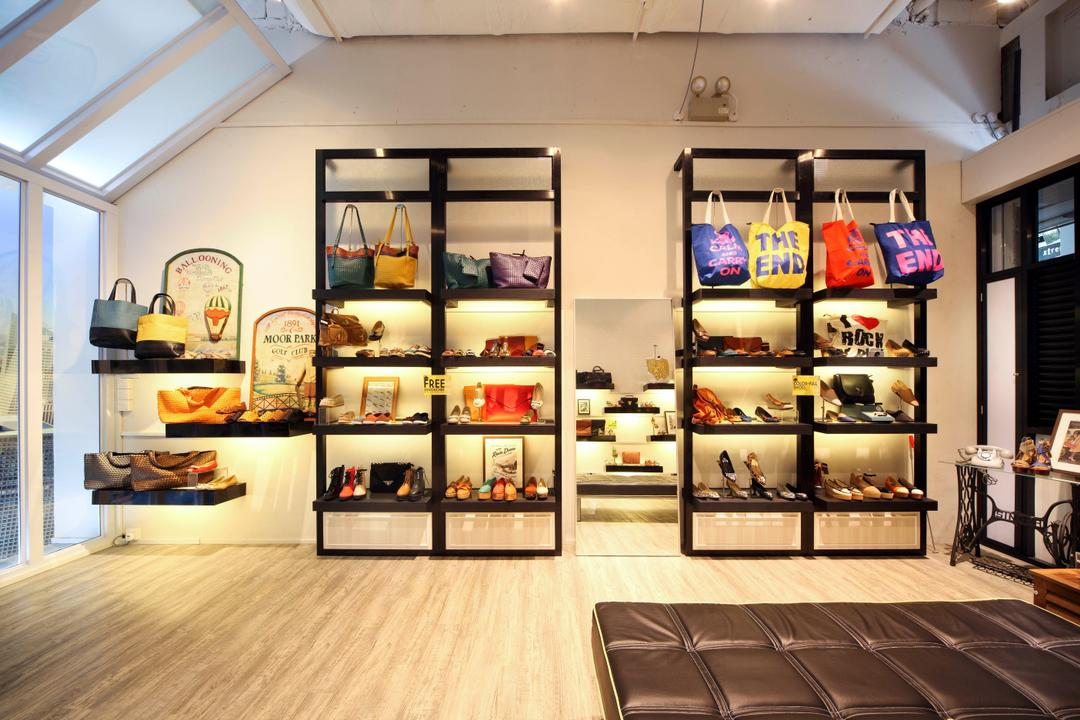 Hurs Shoe Loft, De Exclusive Design Group, Contemporary, Commercial, Bags, Shoes, Accessories, Display, Product Display, Neat, Shoe Store, Shoe Shop, Shelf, Flooring, Wallet