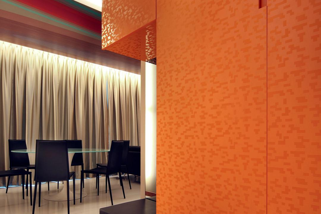 Kovan Residences, De Exclusive Design Group, Transitional, HDB, Shoe Cabinet, Shoes, Orange Cabinet, Orange, Dining Table, Furniture, Table, Chair, Indoors, Interior Design, Curtain, Home Decor