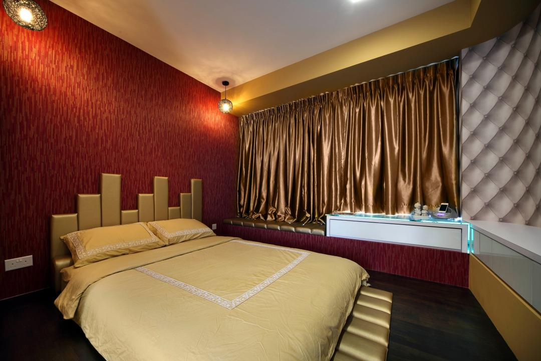 Kovan Residences, De Exclusive Design Group, Transitional, Bedroom, HDB, Wallpaper, Red Walls, Red, Headboard, Curtains, Glossy Curtains, Dark, Warm Lights, Bed, Furniture, Indoors, Room, Interior Design