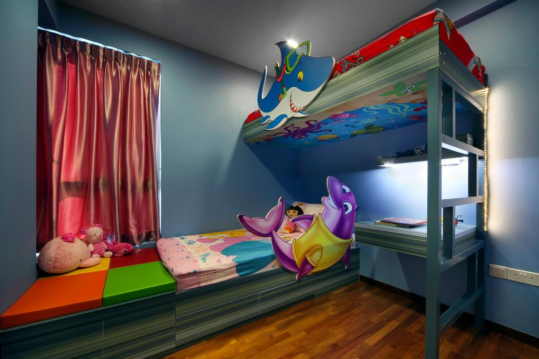 Kovan Residences, De Exclusive Design Group, Transitional, Bedroom, HDB, Kids Room, Kids, Bunk Bed, Double Decker, Toys, Cartoons, Curtains, Colourful, Colours