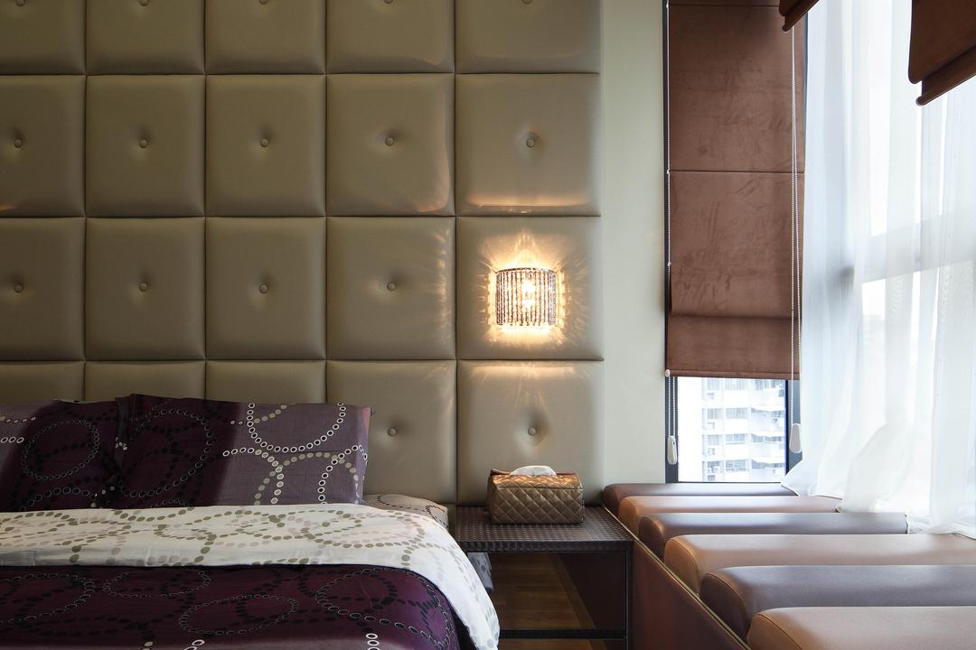 Montebleu, De Exclusive Design Group, Eclectic, Bedroom, Condo, Bay Window, Cushioned Wall, Upholstered Wall, Curtains, Blinds, Bedside Lamp