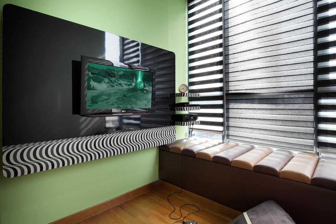 Montebleu, De Exclusive Design Group, Eclectic, Bedroom, Condo, Bay Window, Green, Green Wall, Cushion, Play Station, Gaming Room, Games, Tv, Couch, Furniture